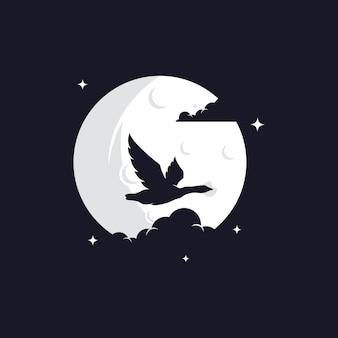 Reigersilhouet tegen maan Premium Vector