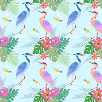 Reigervogel met bloemen naadloos patroon.