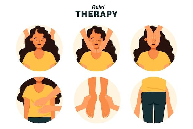 Reiki therapie illustratie concept