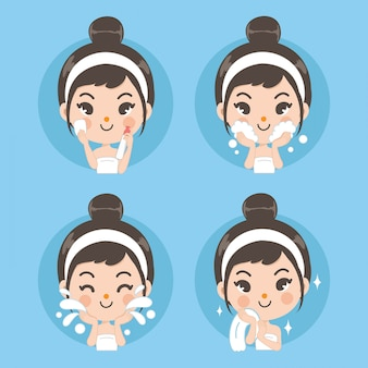 Reinig gezicht en behandeling met schattige meisjes.