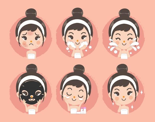 Reinig gezicht en behandelingsrit acne door schattige meisjes.