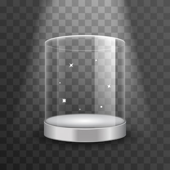 Reinig glazen vitrine podium met schijnwerpers en vonken. vitrine voor boetiek, cilindervrije vitrine voor tentoonstelling in galerie of museum