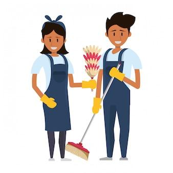 Reinigers werknemers met reinigingsapparatuur