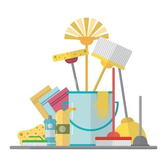 Reiniging apparatuur. schoonmaakdienst in flat