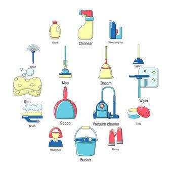 Reiniging gereedschap icon set, cartoon stijl