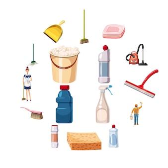 Reiniging pictogrammen instellen wasmiddelen, cartoon stijl