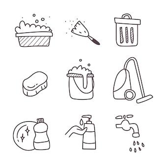 Reiniging van een set pictogram. hand tekenen