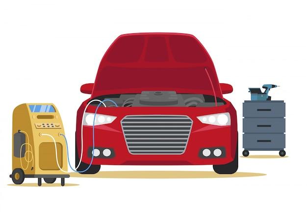 Reinigings airconditioner in auto.