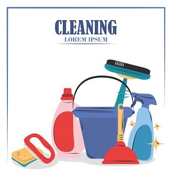 Reinigingsbenodigdheden emmer plunjer, borstel, spons en wisser