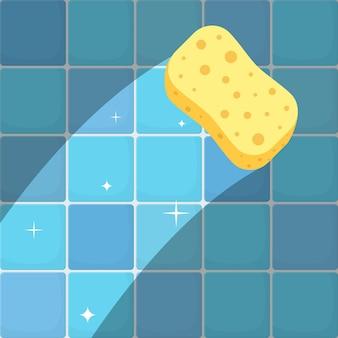Reinigingsconcept traceer gele spons op vuile wandtegels in badkamer of keuken.