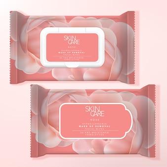 Reinigingsdoekje voor alcohol of make-up verwijdering doek pakketverpakking, hersluitbaar etiket of plastic dekselformaat. rozenpatroon gedrukt.