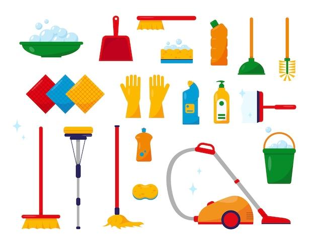 Reinigingsgereedschap en -producten verzameling van reinigingsapparatuur en accessoires