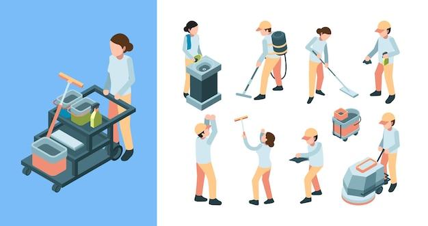 Reinigingsindustrie isometrisch. apparatuur voor industriële schoonmaakpersoneel verwijdert tapijt.