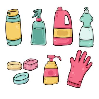 Reinigingsmaterialen covid-19 preventie geïsoleerde tekeningen