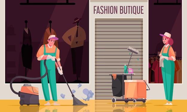 Reinigingssamenstelling met uitzicht op de voorkant van de modeboetiek met menselijke karakters van schoonmakers in uniform