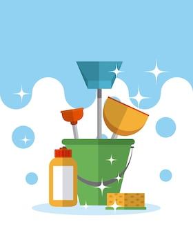 Reinigingsset met emmer en reinigingsmiddelen