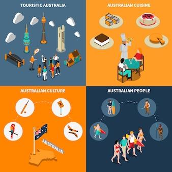 Reis 4 van australië isometrisch pictogrammenvierkant