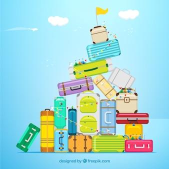 Reis achtergrond met koffers in vlakke stijl