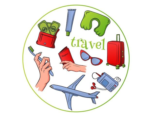 Reis artikelen. vliegtuigvlucht, bagage, slaapkussen, speler, portemonnee met geld, paspoort in de hand, tandenborstel en tandpasta. cartoon-stijl.