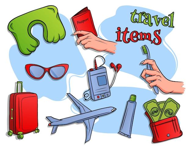 Reis artikelen. vliegtuigvlucht, bagage, slaapkussen, speler, portemonnee met geld, paspoort in de hand, tandenborstel en tandpasta. tekenfilm.