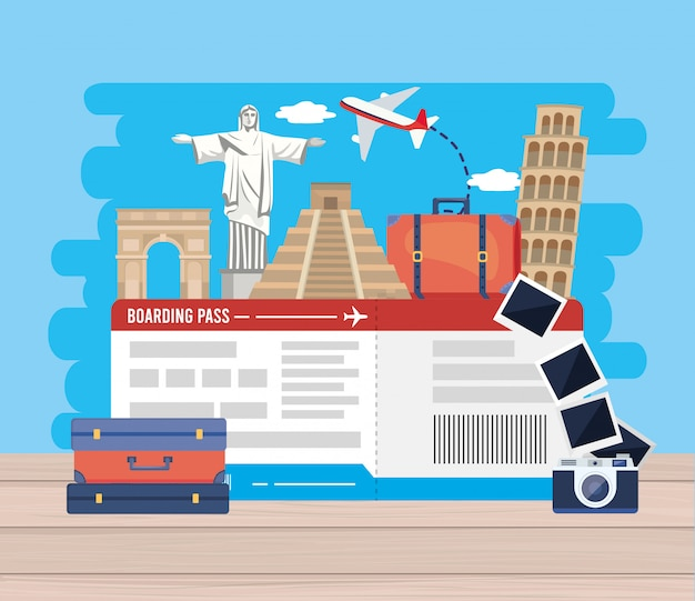 Reis avontuurbestemming met kaartje en vliegtuig