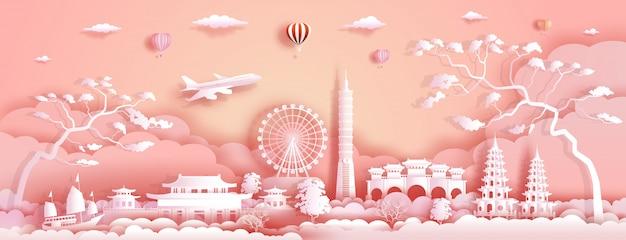 Reis azië oriëntatiepunten van taiwan met vliegtuig, zeilboot en ballons.