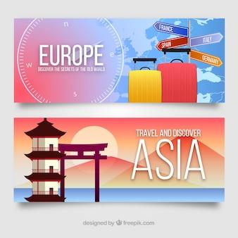 Reis banners met bestemmingen