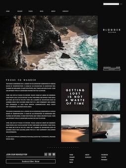 Reis blog eerste pagina sjabloon ontwerp vector