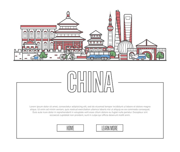 Reis china-pagina in lineaire stijl