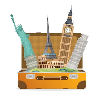 Reis concept. attracties van over de hele wereld. koffer met de bezienswaardigheden van de wereld. element voor het ontwerp van de reisbanner. element voor reizen.