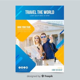 Reis de wereld poster sjabloon