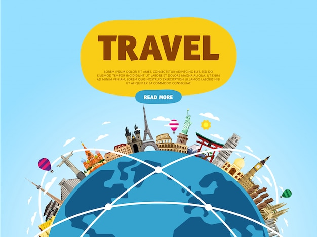 Reis de wereld rond, monument concept, road trip,