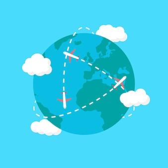 Reis de wereld rond. vliegtuigen vliegen de wereld rond