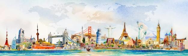 Reis de wereld van beroemde bezienswaardigheden, europa, azië en amerika. aquarel landschap schilderij illustratie met wereldkaart achtergrond. populair monument met reclame, poster, briefkaart. .