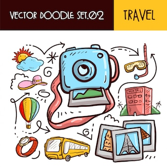 Reis doodles-pictogram. vector illustratie set