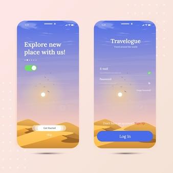 Reis door de woestijn aan boord van mobiele app met inlogscherm en startscherm
