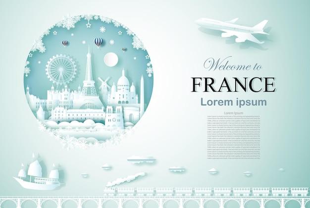 Reis door frankrijk oud en kasteelarchitectuurmonument met een gelukkig nieuwjaar