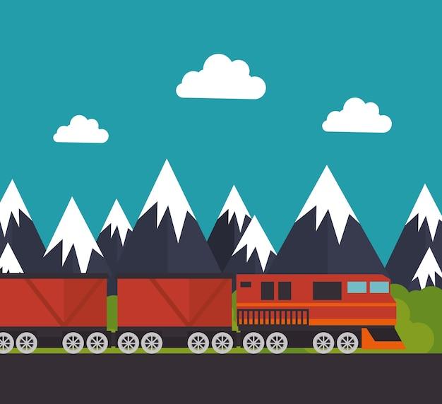 Reis door vector de illustratieontwerp van het treinconceptpictogram