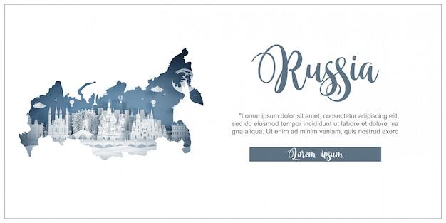 Reis en reis reclamemalplaatje met reis naar moskou, rusland met beroemde oriëntatiepunten