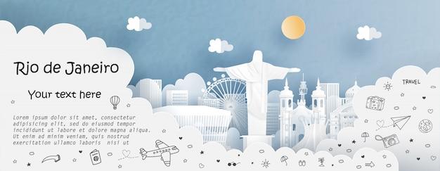 Reis en reis reclamemalplaatje met reis naar rio de janeiro, brazilië