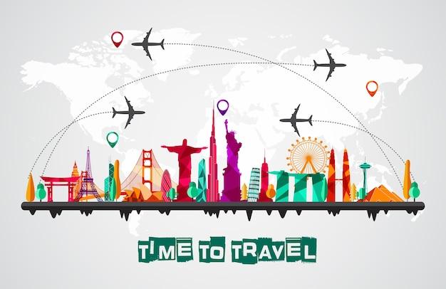 Reis en toerisme van de achtergrond van silhouettenpictogrammen
