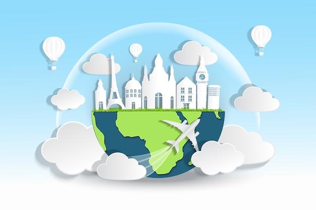 Reis- en toerismeconcept met globaal en gebouw