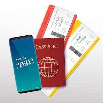 Reis- en toerismeconceptkaart met realistisch gedetailleerd 3d paspoort, vliegtuigtickets en dunne lijnpictogrammen