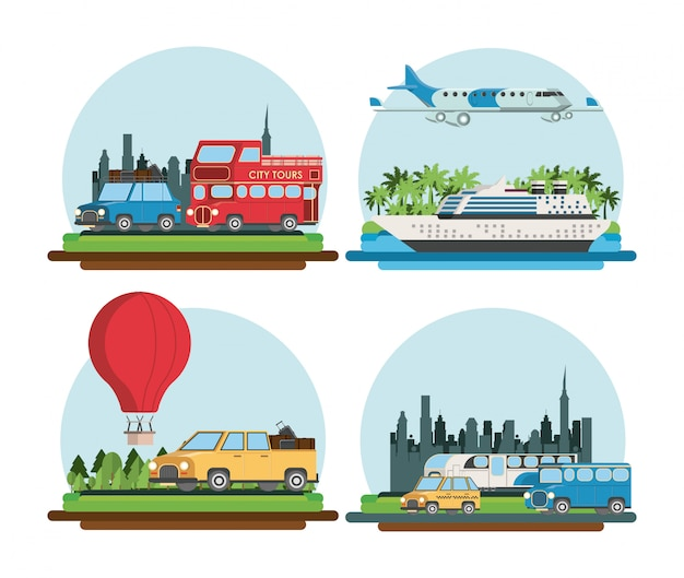 Reis- en transportcartoons