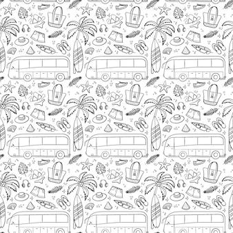 Reis- en vakantie naadloos patroon met reiselementen buspalm en strand in lijnstijl