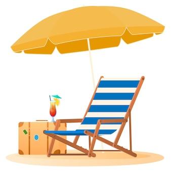 Reis- en vakantieconcept parasol en stoel ontspannen op het strand illustratie