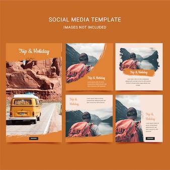 Reis- en vakantievakantie. reiziger sociale mediasjabloon met oranje kleur