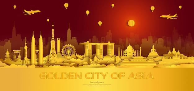 Reis gouden stadsoriëntatiepunten van azië belangrijke architecturale monumenten.