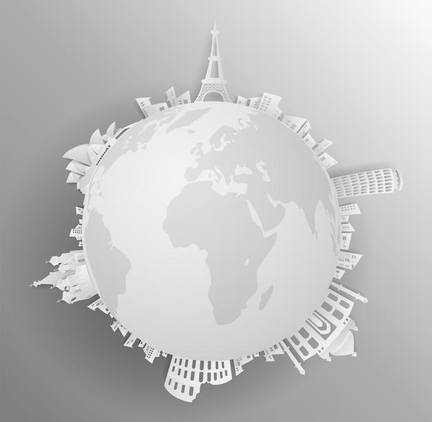 Reis het wereldmonument met concept grijze backround