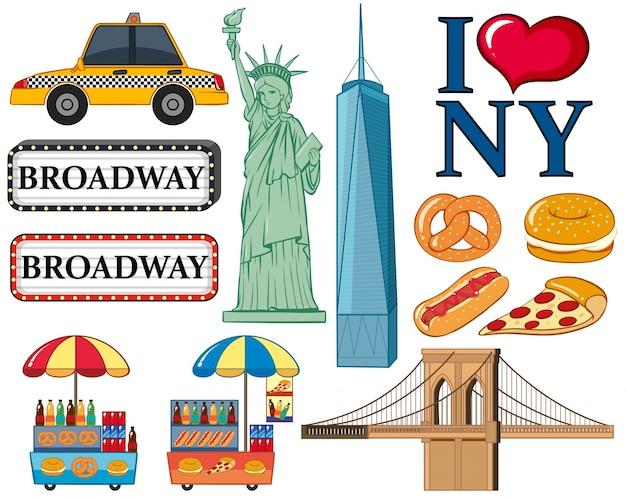 Reis iconen voor de illustratie van new york city